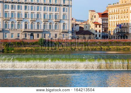 Barrage At The River Arno In Florence, Italy