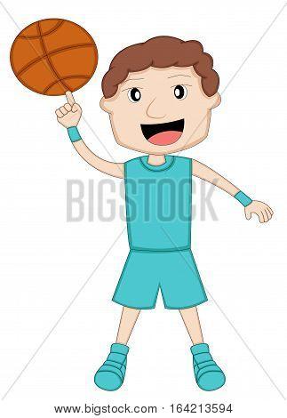 Basketball Player Spinning Ball on Finger Cartoon Illustration