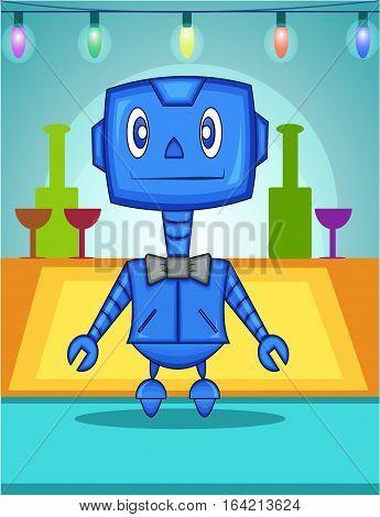 Cute Blue Waiter Robot Cartoon Character with Bowtie