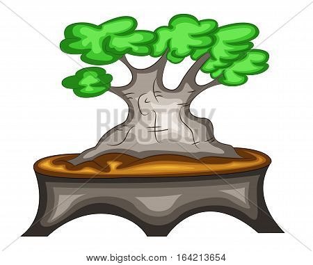 Vector Illustration of Beautiful Bonsai Tree Planted on A Vase