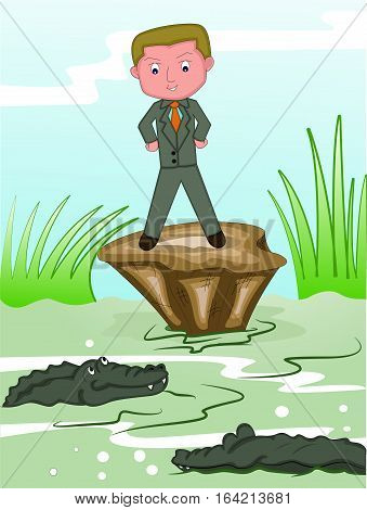 Businessman Facing Crocodiles in Dangerous Swamp Cartoon Illustration