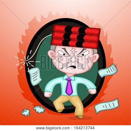 Dynamite on Head of Killer Boss Cartoon Illustration