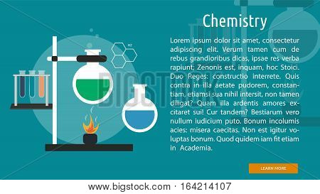 Chemistry Conceptual Banner | Great flat illustration concept icon and use for science, research, technology, physics, chemistry and much more.