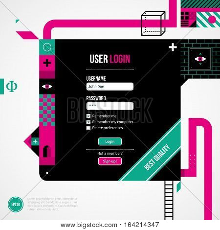 Web Site Login Form In Weird Geometric Style With Abstract Shapes And Flashy Colors. Eps10 Vector Te