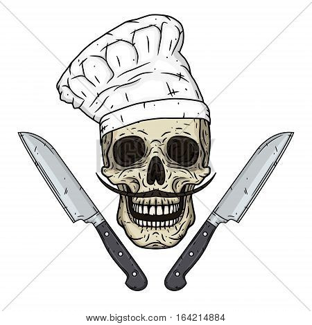 Skull in toque with knifes. Cartoon skull