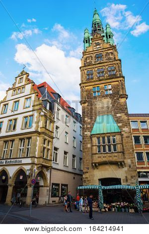 City Hall Tower In Muenster, Germany
