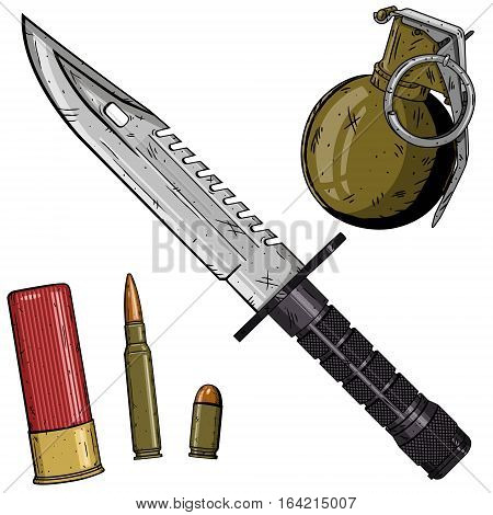 Cartoon weapons set over white background. USA weapon set
