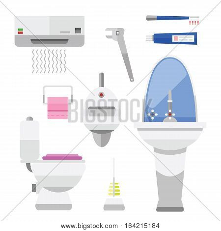 Bathroom icons toilet symbols vector illustration. Hygiene collection faucet room clean tools. Modern home bathtub shower equipment and beauty tap element.