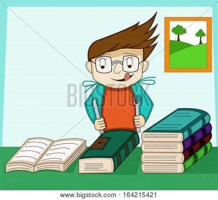 Geek Boy with Knife and Fork Eating Book Cartoon Illustration