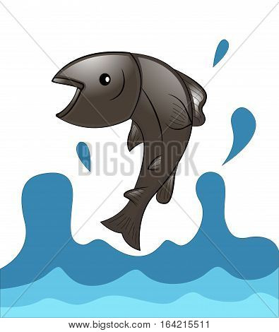 Salmon fish jumping from water cartoon illustration