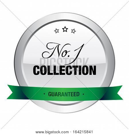 No.1 collection seal or icon. Silver seal or button with stars and green banner.