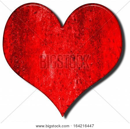 Heart shape 3D illustration with a red grungy bevelled texture