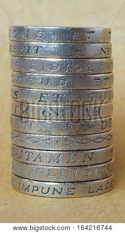 Pound Coins Pile - Vertical