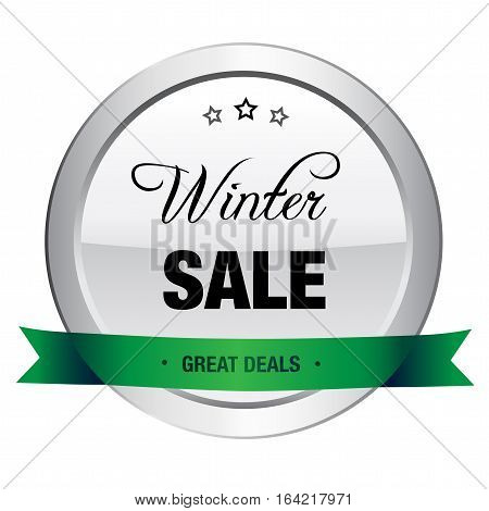 Winter sale seal or icon. Silver seal or button with stars and green banner.