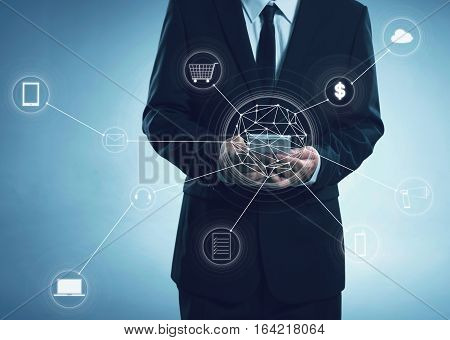Buisness men and network connection concept .