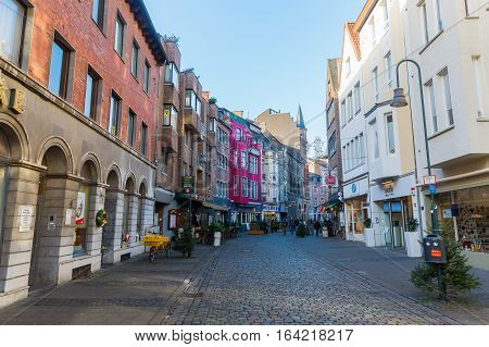 Shopping Street Schmiedstrasse In Aachen, Germany