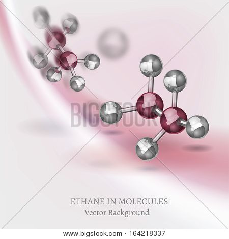 Scientific backdrop with ethane molecules in 3D style. C264 vector illustrations isolated on a light grey and pink background. Chemical, educational and popular-scientific concept.