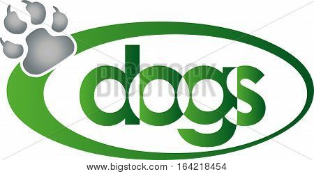 A paw and circle, dog and paw logo