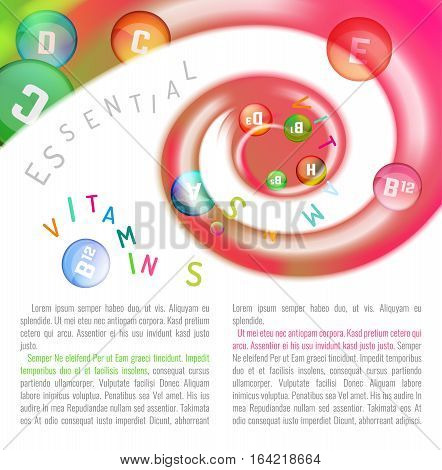 Vitamin complex. Different vitamins in pills flying in a swirl. Medical and pharmaceutical image. Beautiful vector illustration with copyspace for leaflet, brochure, poster or advertorial design.