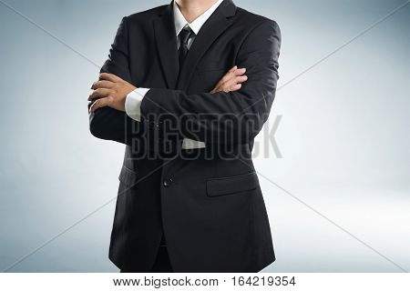 Close up of buisnessman in suit and tie .