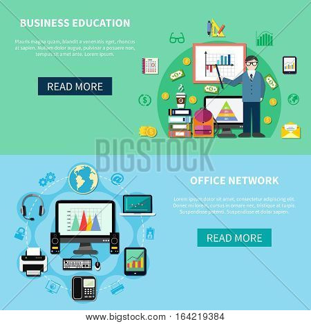 Two horizontal banners with office network  and business education design concepts composed from workplace icons flat vector illustration