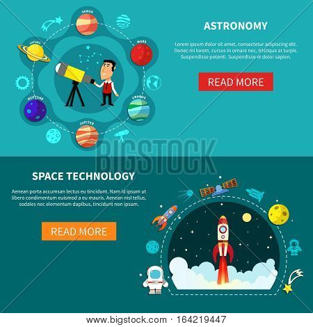 Space horizontal banners set with astronomy symbols flat isolated vector illustration