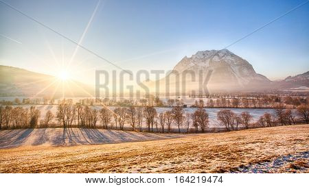 Grimming mountain in the Ennstal in Styria Austria