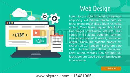 Web Design Conceptual Banner | Great flat illustration concept icon and use for Business, Creative Idea, Concept, Marketing and much more