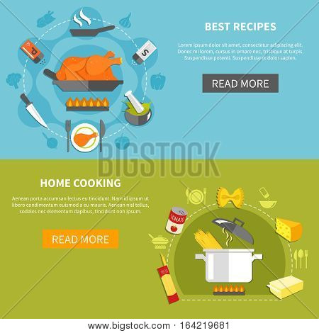 Culinary flat horizontal banners with fried chicken ingredients pasta spaghetti cheese butter kitchen utensils vector illustration