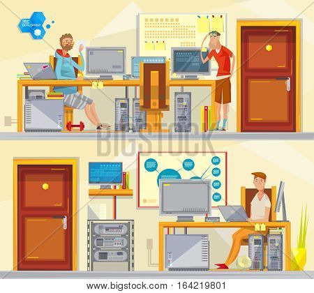 Set of two soft engineer private office interior compositions with cartoon worker characters and workplace equipment vector illustration