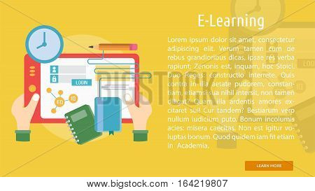 E-Learning Conceptual Banner | Great flat illustration concept icon and use for Business, Creative Idea, Concept, Marketing and much more