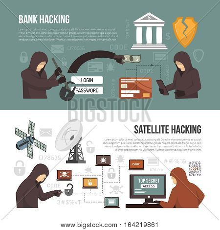 Internet hackers activity 2 flat infographic elements banners with bank account breaking via satellite connection isolated vector illustration
