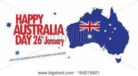 Happy australia day vector photo free trial bigstock happy australia day 26 january poster map of australia with flag and stars on white m4hsunfo