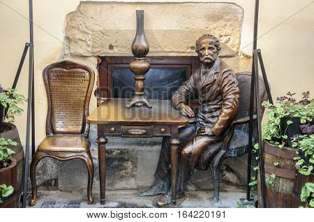 Lviv Ukraine - September 07 2016: Monument to Jan Zeh and Ignacio Lukasiewicz the inventors of the kerosene lamp