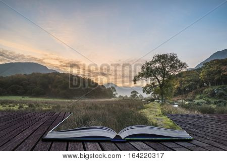 Beautiful Foggy Misty Autumn Sunrise Over Countryside Surrounding Crummock Water In Lake District In