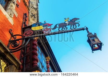 Restaurant Sign At A Historic Building In Aachen