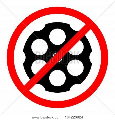 NO GUNS. CYLINDER OF REVOLVER IN BAN SIGN. STOP VIOLENCE CONCEPT
