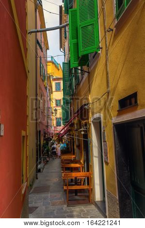 Picturesque Alley In Monterosso Al Mare, Italy