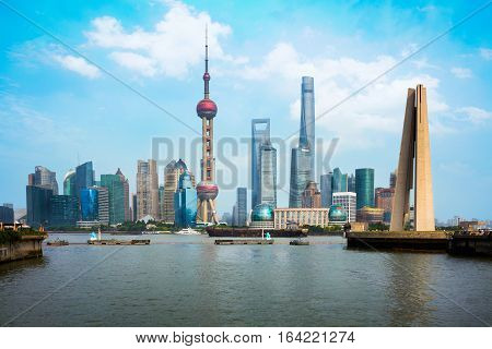 Beautiful Shanghai city view from suzhou river Shanghai city skyline China