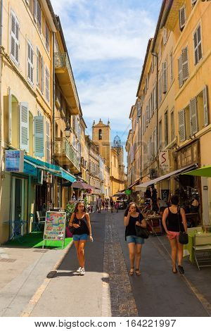 Road In The Old Town Of Aix-en-provence, France