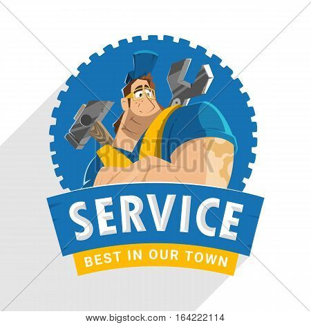 Character logo design for home house auto car repair service building workshop company tool equipment shop store etc