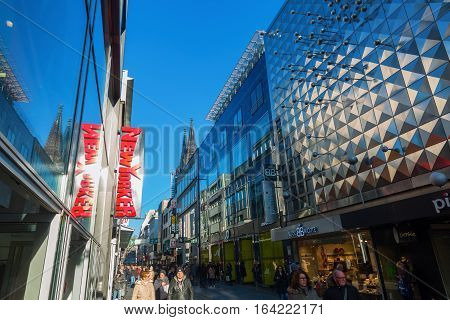 Shopping Street Hohe Strasse In Cologne, Germany