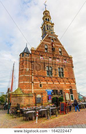 Historical Hoofdtoren At The Harbor Of Hoorn, Netherlands