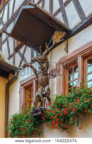 deer sculpture on house in Riquewihr Alsace France
