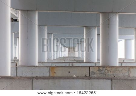 Concrete pillar for road or bridge construction