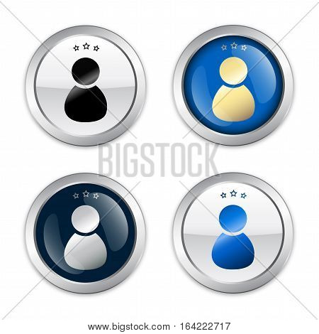 Best service seal or icon with admin or person symbol. Glossy silver seal or button with stars.