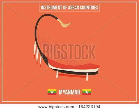 Vectors illustration of Instrument of Myanmar country