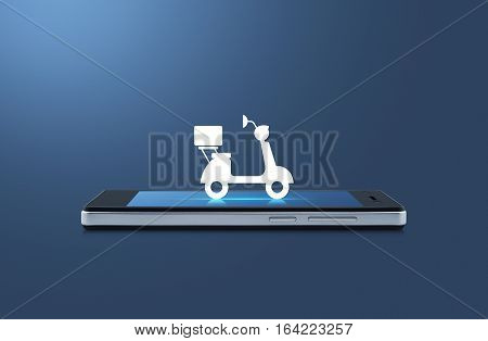 Motor bike icon on modern smart phone screen over light blue background Business delivery service concept