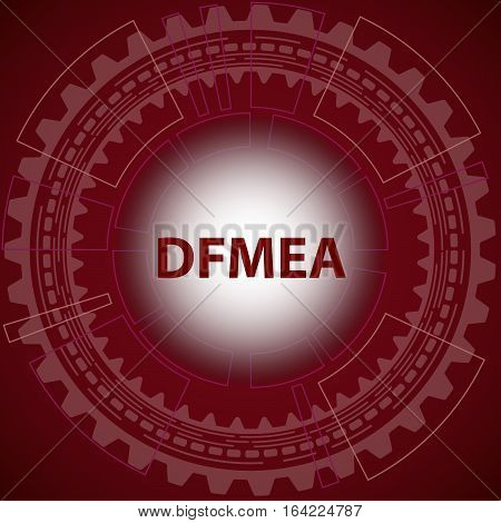 Design failure mode and effect analysis strategy background. Red background with gear and title DFMEA in middle.