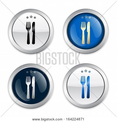Restaurant seal or icon set with fork and knife symbol. Glossy silver seal or button.